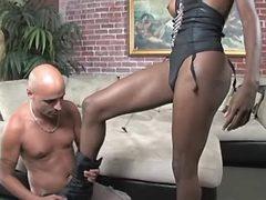 Very playful tranny fucks bald dude