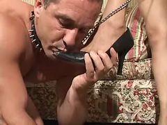 Steamy tgirl fucks submissive bloke