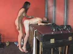 Shemale fucks slave guy in red room