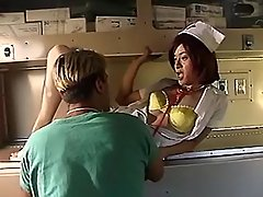 Trans nurse enjoy oral in ambulance