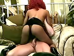 Redhead ebony tranny sucks big cock