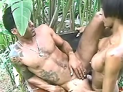 Ebony tranny gets juicy cum outdoor