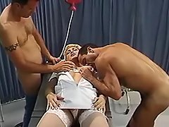 Crazy orgy with shemale in hospital