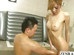 Japanese soapy newhalf shemale soapland kinky foreplay