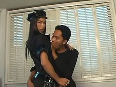 Ladyboy officer fucks w guy on sofa