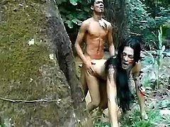 Exotic tranny fucked in wild nature
