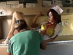 Asian shemale nurse sucking doctor