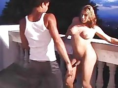 Busty Latina TS drills a chap outdoor